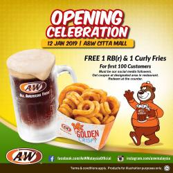 A&W Citta Mall Opening Promotion Free 1 RB & 1 Curly Fries (12 January 2019)