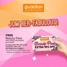 Guardian Jom Ber-Fabulous Promotion FREE Beauty Pass (15 March 2019 - 31 March 2019)