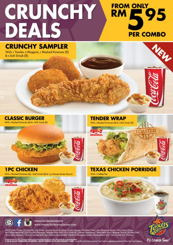 Texas Chicken Crunchy Deals from only RM5.95 Per Combo