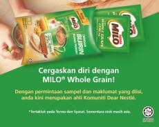 Nestle FREE MILO Whole Grain Sample (5 April 2019 - 30 April 2019)