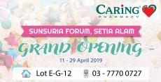 CARiNG PHARMACY Sunsuria Forum Setia Alam Grand Opening Promotion (11 April 2019 - 29 April 2019)