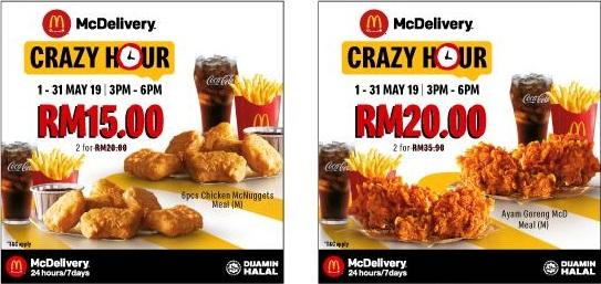 McDonald's McDelivery Crazy Hour Discount Up To 60% (1 May 2019 - 31 May 2019)
