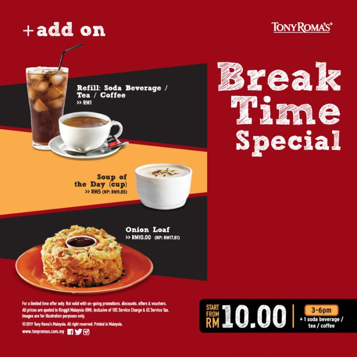 Tony Roma's Break Time Promotion from only RM10