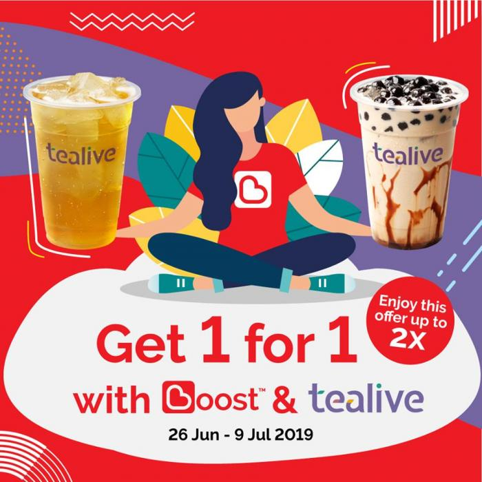 Tealive Buy 1 FREE 1 Promotion Pay with Boost (26 June 2019 - 9 July 2019)