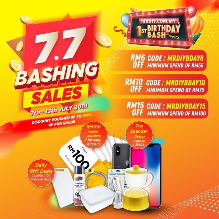 MR DIY Online 7.7 Bashing Sales Promotion (7 July 2019 - 13 July 2019)