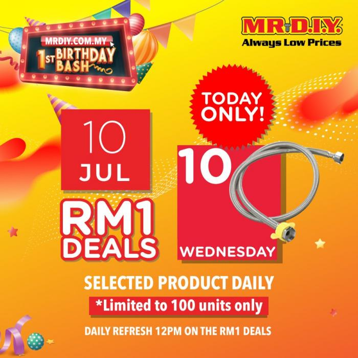MR DIY Online 1st Birhday Promotion RM1 Deal (10 July 2019)
