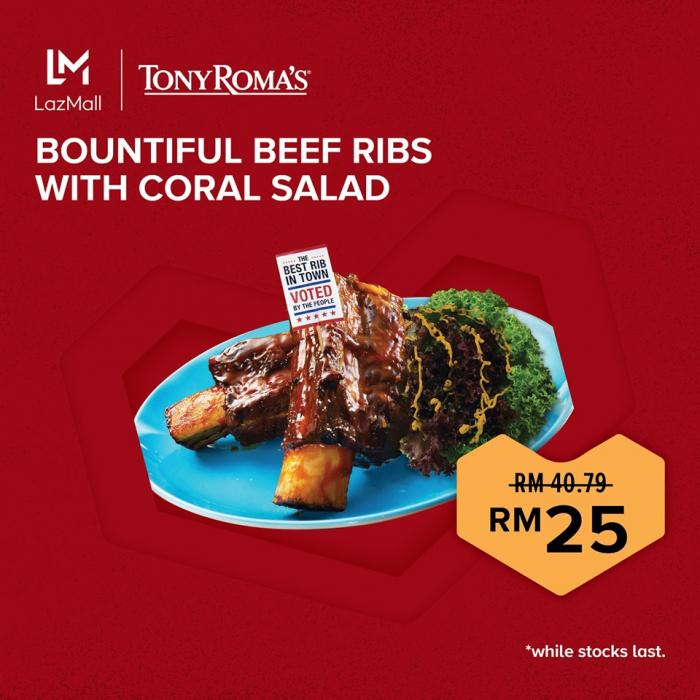 Tony Roma's Bountiful Beef Ribs With Coral Salad for only RM25 on Lazada (NP: RM40.79)