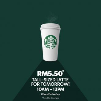 Starbucks Tall-Sized Latte Promotion only RM5.50 (5 August 2019)