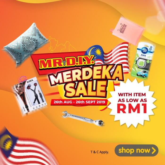 MR DIY Online Merdeka Sale As Low As RM1 (26 August 2019 - 26 September 2019)