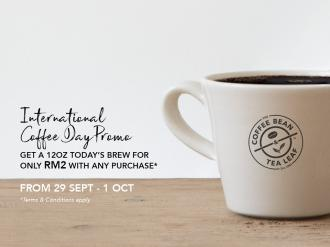 The Coffee Bean International Coffee Day Promotion Drink only RM2 (29 September 2019 - 1 October 2019)