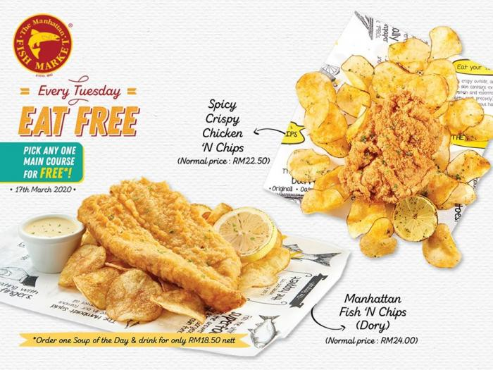 The Manhattan Fish Market Eat for FREE Promotion (every Tuesday)