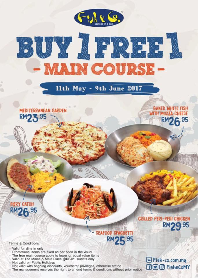 Fish & Co. Main Course Buy 1 FREE 1 Promotion