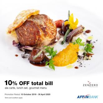 Zenzero Restaurant 10% OFF Promotion With Affin Bank Cards (15 October 2019 - 30 April 2020)