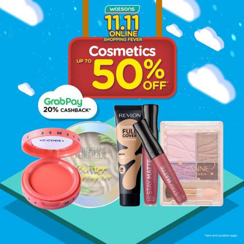 Watsons 11.11 Sale Cosmetics Promotion Discount Up To 50% (valid until 13 November 2019)