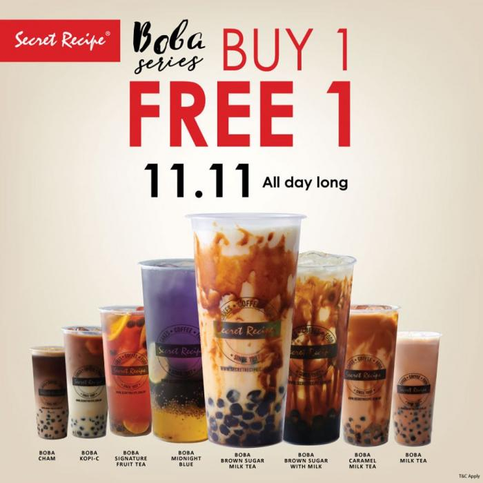 Secret Recipe 11.11 Buy 1 FREE 1 Promotion (11 November 2019)