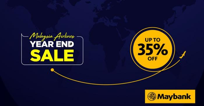 Malaysia Airlines Year End Sale Promotion up to 35% OFF With Maybank Cards (12 November 2019 - 18 November 2019)