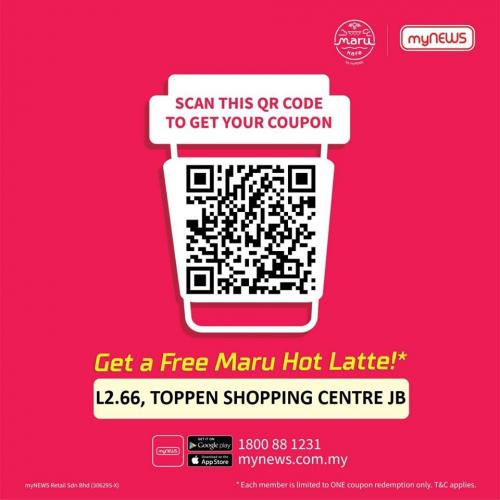 myNEWS.com Toppen Shopping Centre Opening Promotion FREE Maru Hot Latte (13 November 2019 - 19 November 2019)
