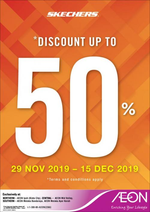 AEON Skechers Fair Promotion Up To 50% OFF (29 November 2019 - 15 December 2019)