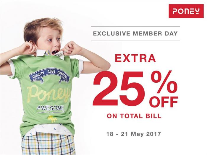 Poney Exclusive Member Day Extra 25% On Total Bill