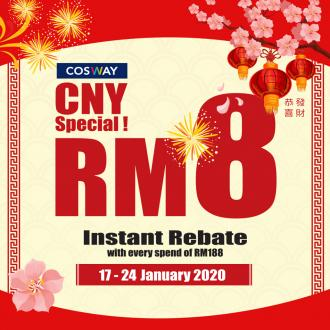 Cosway CNY Promotion RM8 Instant Rebate (17 January 2020 - 24 January 2020)