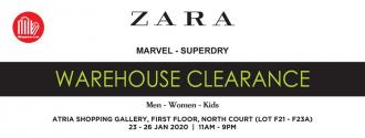 Branded Fashion (Zara, Mango, Superdry, Marvel) Warehouse Sale Up To 90% OFF at Atria Shopping Gallery (23 January 2020 - 26 January 2020)