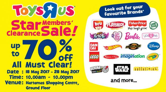 Toys R Us Star Members' Clearance Sale Up to 70% Off