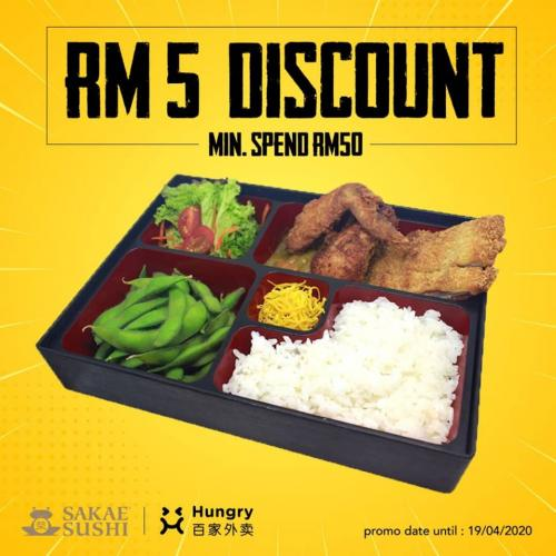 Sakae Sushi RM5 Discount Promotion on Hungry (valid until 19 April 2020)