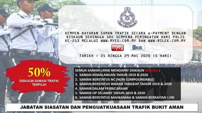 PDRM E-Payment Summons Campaign Discount 50% (25 March 2020 - 29 March 2020)