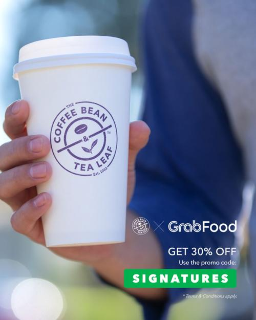 The Coffee Bean 30% OFF Promotion on GrabFood (valid until 31 March 2020)