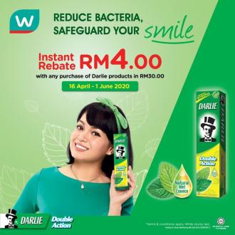 Watsons Darlie Promotion Instant Rebate RM4 (16 April 2020 - 1 June 2020)