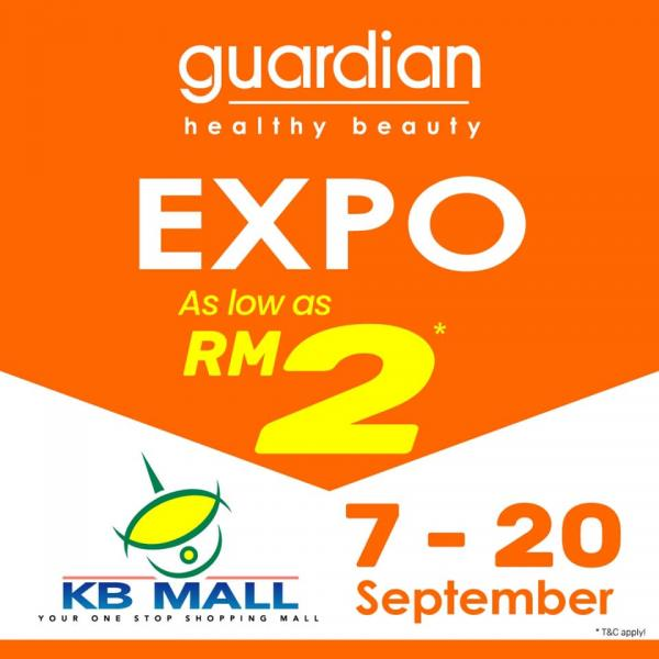 Guardian Expo As Low As RM2 at KB Mall (7 September 2020 - 20 September 2020)