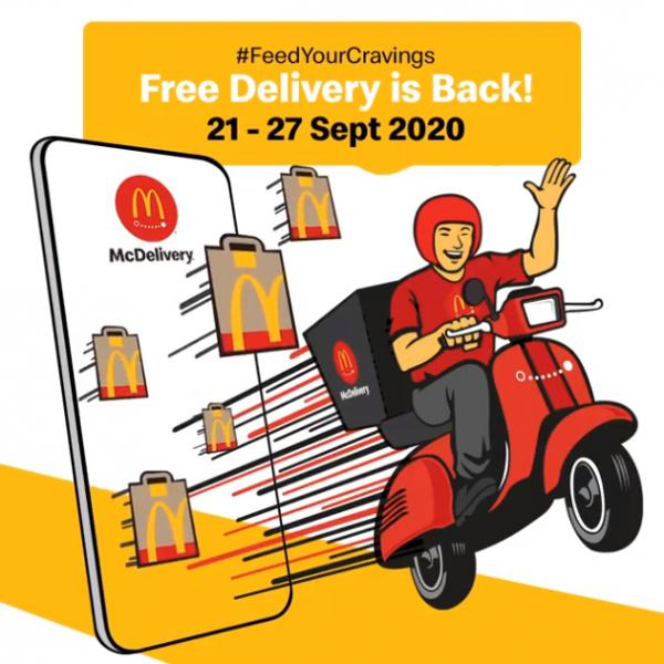 McDonald's McDelivery FREE Delivery Promotion (21 September 2020 - 27 September 2020)
