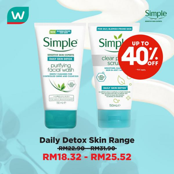 Watsons Simple Skincare Sale Up To 40% OFF (15 September 2020 - 20 September 2020)