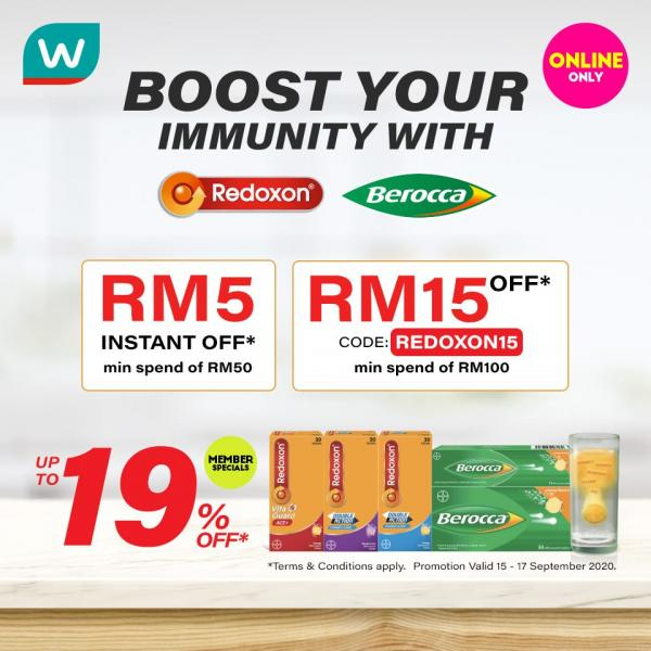Watsons Berroca and Redoxon Online Promotion (valid until 17 September 2020)