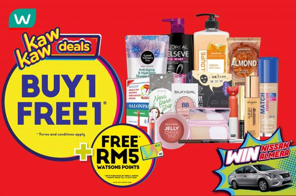Watsons Kaw Kaw Deals Buy 1 FREE 1 Promotion (24 September 2020 - 28 September 2020)