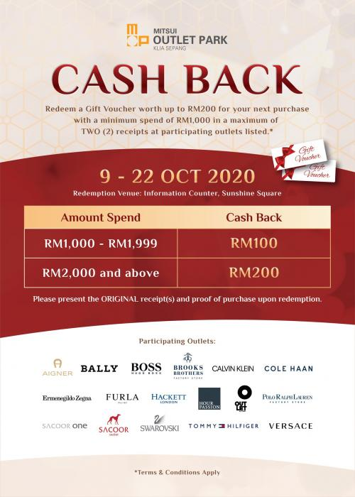 Mitsui Outlet Park FREE Gift Voucher Promotion (9 October 2020 - 22 October 2020)