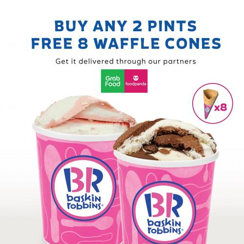 Baskin Robbins FREE 8 Waffle Cones Promotion on GrabFood & FoodPanda