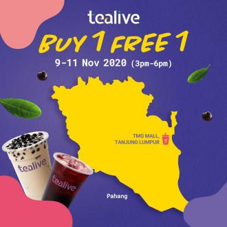 Tealive Buy 1 FREE 1 Promotion at 4 Outlets in Pahang & Perak (9 November 2020 - 11 November 2020)