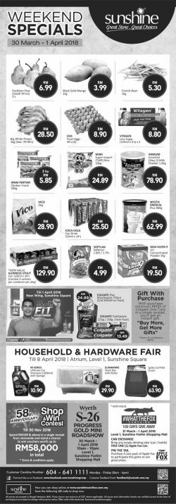 Sunshine Retail Penang Weekend Specials Promotion (30 March 2018 - 1 April 2018)
