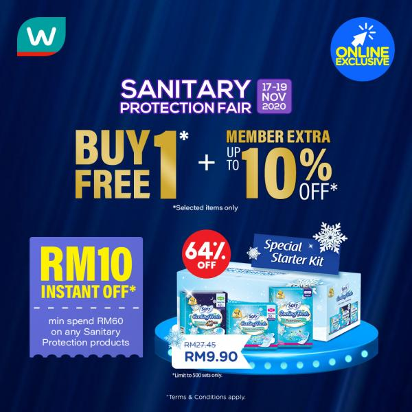 Watsons Online Sanitary Protection Fair Sale (17 November 2020 - 19 November 2020)