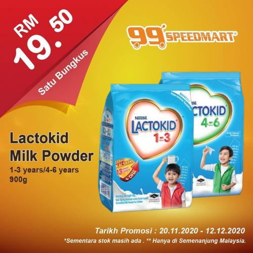 Lactokid Milk Powder (1-3 years / 4-6 years) 900g @ RM19.50