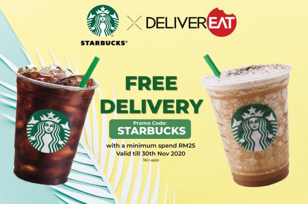 Starbucks FREE Delivery Promotion on DeliverEat (valid until 30 November 2020)