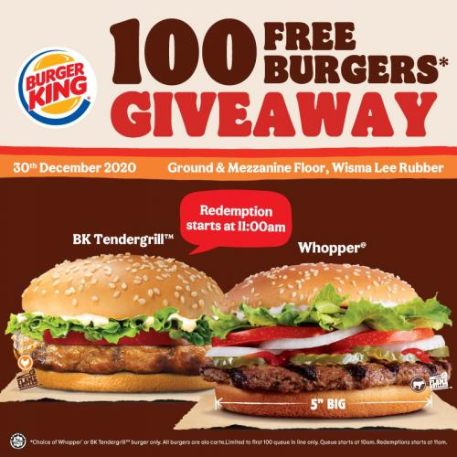 Burger King Wisma Lee Rubber Opening Promotion FREE Burgers (30 December 2020)