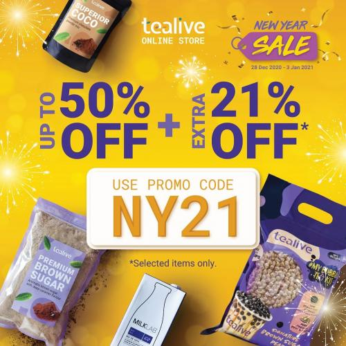 Tealive Online New Year Sale Up To 50% OFF & Extra 21% OFF Promo Code (28 December 2020 - 3 January 2021)