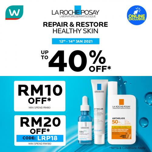 Watsons Online La Roche Posay Brand Day Sale Up To 40% OFF (12 January 2021 - 14 January 2021)