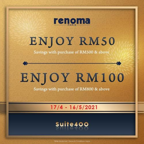 Renoma Paris Special Sale Up To RM100 OFF at Johor Premium Outlets (17 April 2021 - 16 May 2021)