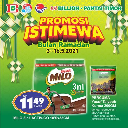 BILLION & Pantai Timor Milo Ramadan Promotion (3 May 2021 - 16 May 2021)