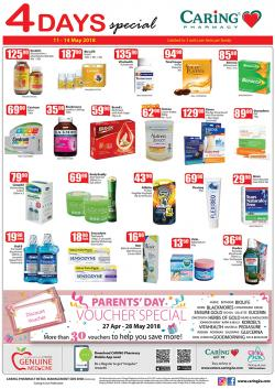 CARiNG PHARMACY 4 Days Special Promotion (11 May 2018 - 14 May 2018)