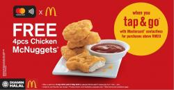 McDonald's FREE 4pcs Chicken McNuggets with Mastercard Contactless (15 April 2018 - 31 May 2018)