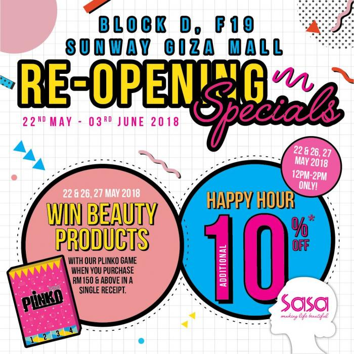 SaSa Re-Opening Specials at Sunway Giza Mall (22 May 2018 - 3 June 2018)